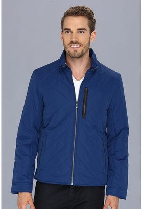 Cole Haan Quilted Jacket w/ Leather Details (Blue) - Apparel