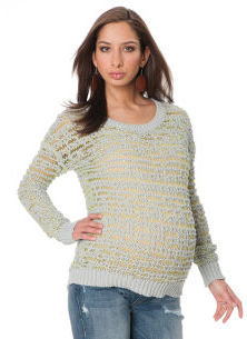 A Pea in the Pod Willow and Clay Long Sleeve Striped Maternity Sweater