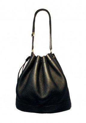 Hermes excellent (EX Black Leather Drawstring Bucket Bag