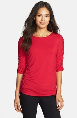 Chaus Ruched Three Quarter Sleeve Top
