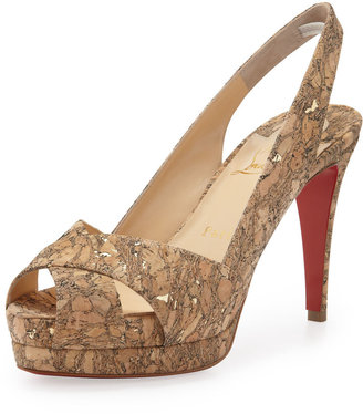 Christian Louboutin Soso Cork Red Sole Slingback Sandal, Gold