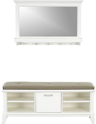Crate & Barrel Paterson White Bench with Cushion and Mirror