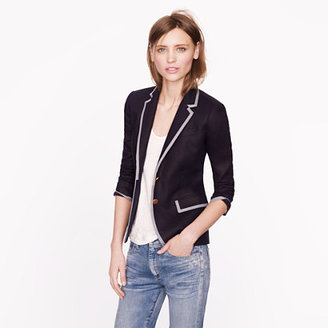 J.Crew Collection classic schoolboy blazer in tipped linen