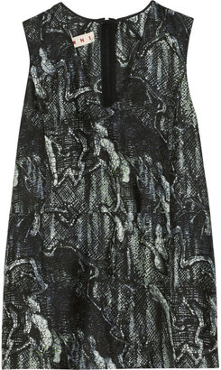 Marni Printed silk and cotton-blend top