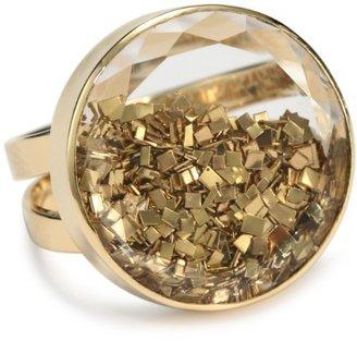 "Moritz Glik Kaleidoscope"" 18K Yellow Gold, White Sapphire Crystal and Floating Gold Ring, Size 7"