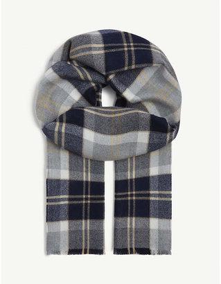 Johnstons Glen check bordered scarf
