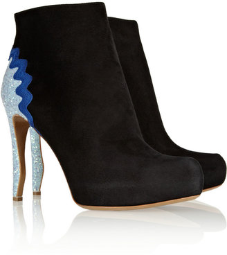 Nicholas Kirkwood Glitter-finished suede ankle boots