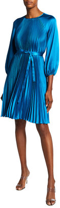 Rickie Freeman For Teri Jon Blouson-Sleeve Pleated Satin Dress