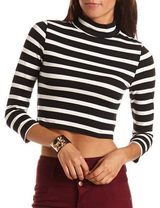 Charlotte Russe 3/4 Sleeve Mock Neck Crop Top