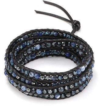 Chan Luu Five Wrap Leather Bracelet with Sodalite Stones