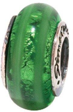 Prerogatives Sterling Vertical Stripe Green Glass Bead