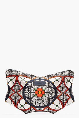 Alexander McQueen Navy Satin Stained Glass Print De Manta Clutch