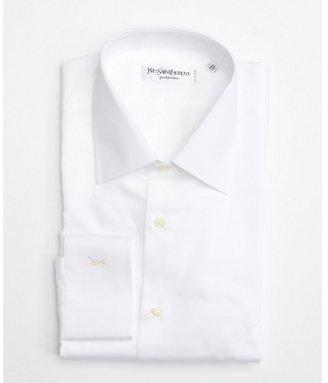 Yves Saint Laurent white tonal texture point collar dress shirt