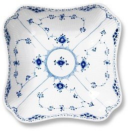 Royal Copenhagen Blue Fluted Half Lace Square Serving Bowl