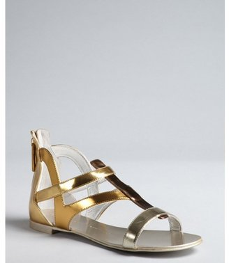 Giuseppe Zanotti silver, gold and platinum mirrored leather heel zip sandals