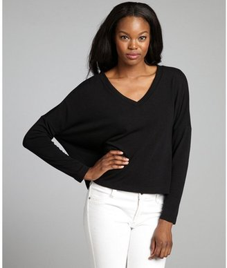 LnA black jersey v-neck pocketed relaxed 'Clifton' sweater