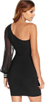 Ruby Rox Juniors' One-Shoulder Rhinestone-Trimmed Dress