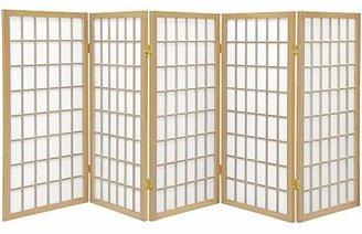 Oriental Furniture 3 ft. Tall Window Pane Shoji Screen - - 5 Panels(B)