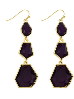 Greenbeads Geometric Linear Earrings, Purple