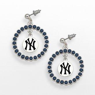 New York Yankees LogoArt Silver Tone Crystal Logo Charm Hoop Drop Earrings