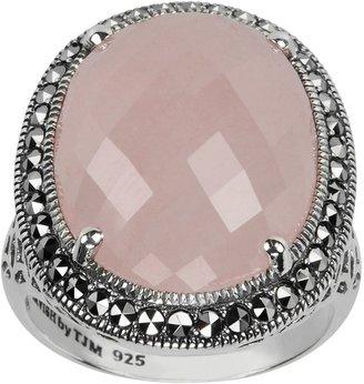 Swarovski Lavish By Tjm Lavish by TJM Sterling Silver Rose Quartz Halo Ring - Made with Marcasite