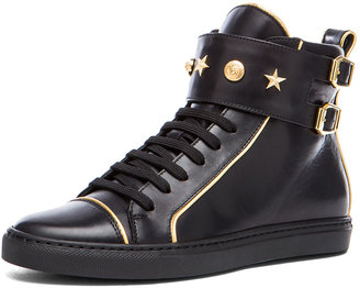 Versace Leather Gold Trim Sneakers in Black