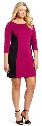 Star Vixen Women's Plus-Size Longsleeve Ponte Colorblock Dress