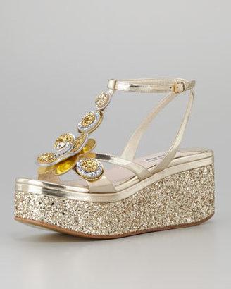 Miu Miu Metallic Glitter Flower Wedge, Gold