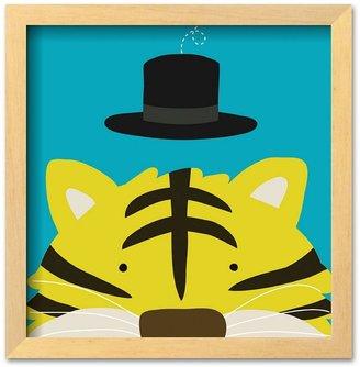 "Art.com Peek-a-Boo XI, Tiger"" 13.25"" x 13.5"" Framed Art Print by Yuko Lau"