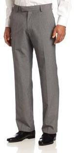 Kenneth Cole Reaction Kenneth Cole Men's Windowpane Slim Fit Flat Front Dress Pant, Silver, 32x30