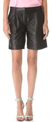 Tibi Leather Pleated Shorts