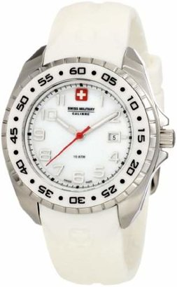 Swiss Military Calibre Women's 06-6S1-04-009 Sealander Mother-of-Pearl Rotating Bezel Rubber Watch
