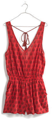 Madewell Beachcomber Tie-Back Romper in Redleaf Paisley