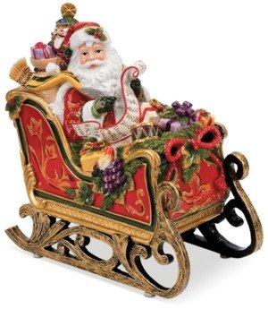 Fitz & Floyd Regal Holiday Santa in Sleigh Musical Figurine