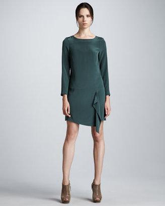 Tibi Long-Sleeve Silk Shift Dress
