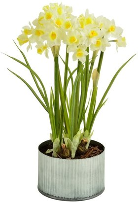 Picnic at Ascot Faux Daffodils in Metal Planter