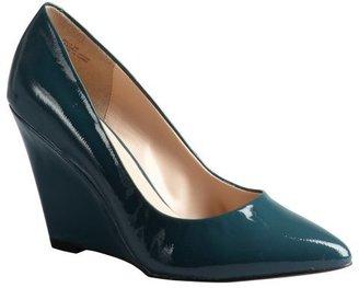 Pour La Victoire ocean blue patent leather pointed toe 'Milla' wedges