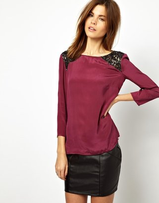 French Connection Top with Encrusted Lace Panel