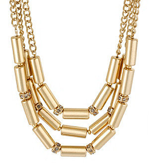 Kenneth Cole Purple Pave & Goldtone Cylinder Bead Multi Row Necklace