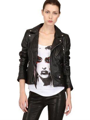 Hand-Printed Smooth Leather Biker Jacket
