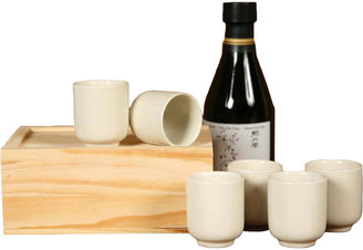 Sake Cups in Wood Box - Set of 6 - White