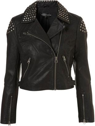 Topshop Petite Studded Biker Jacket