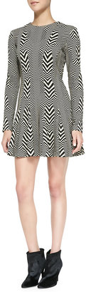 Nicole Miller Artelier Long-Sleeve Printed Fit & Flare Dress