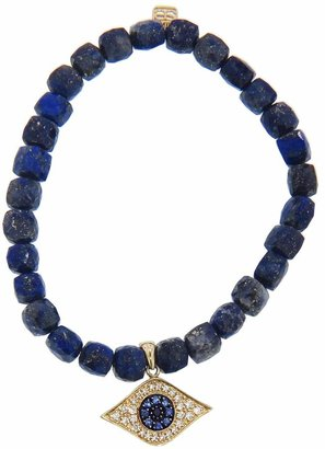 Sydney Evan Diamond Evil Eye Charm on Cubed Lapis Beaded Bracelet