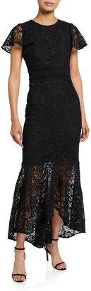 Shoshanna Wilton Flutter-Sleeve Lace Dress