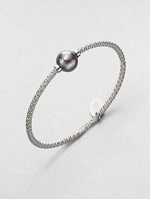 Majorica 12MM Grey Pearl Bangle Bracelet