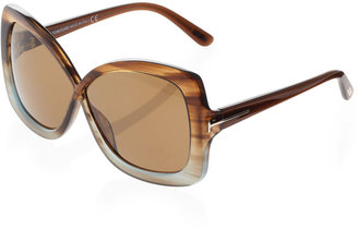 Tom Ford Calgary Butterfly Sunglasses, Azure/Opal Brown