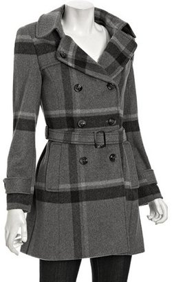 Cinzia Rocca grey plaid wool-cashmere double-breasted coat