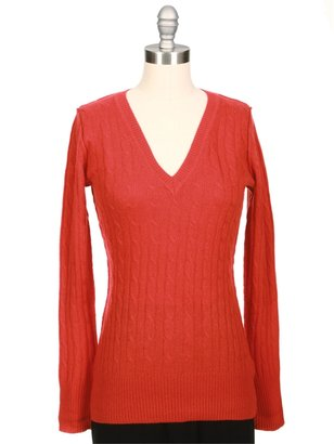 Autumn Cashmere Cable V-Neck Elbow Patch Sweater