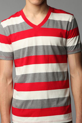 BDG 3-Color Blocked Stripe V-Neck Tee